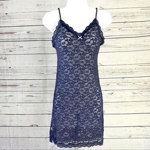 Victoria's Secret blue floral lace sheer nightgown